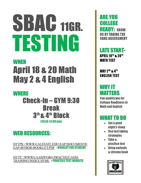 SBAC STATE TESTING 11th Grade Students